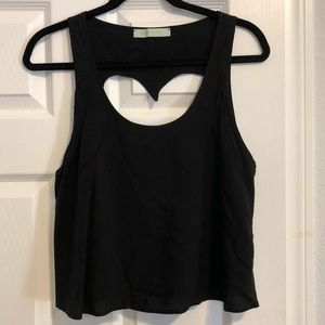 BP black tank top with backless heart cut out